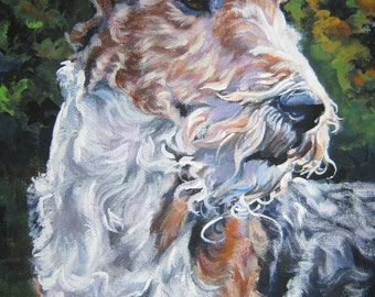 wire fox Terrier art CANVAS print of LA Shepard painting 8x10 dog portrait