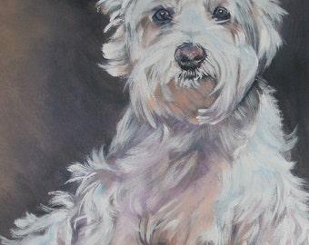 west Highland Terrier westie art CANVAS print of LA Shepard painting 12x16 dog art