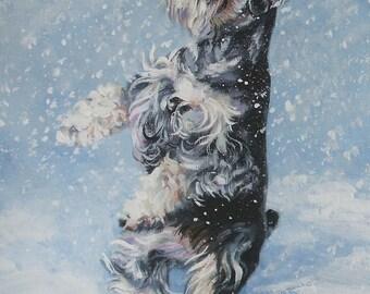 "Miniature SCHNAUZER DOG art canvas PRINT of LAShepard painting 12x16"""
