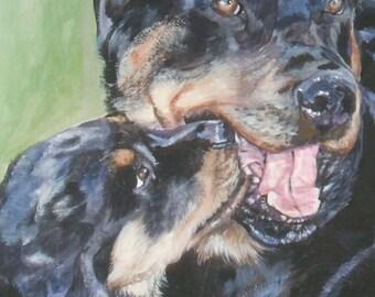 Rottweiler art print CANVAS print of LA Shepard painting 11x14 dog art
