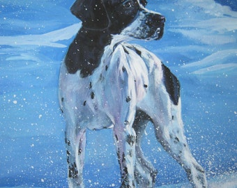 English Pointer dog art CANVAS print of LA Shepard painting 8x8
