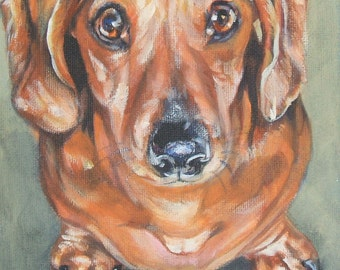 Dachshund dog art CANVAS print of LA Shepard painting 12x12 dog portrait