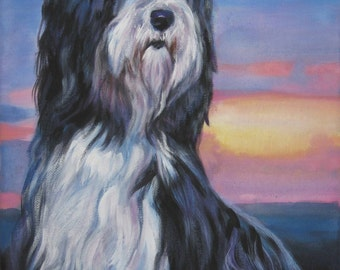 Bearded Collie dog art CANVAS print of LA Shepard painting 12x16