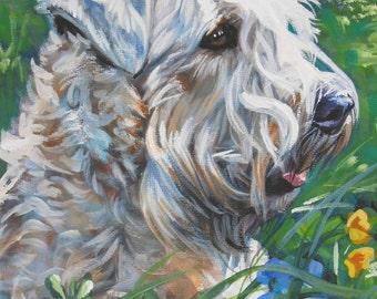 Wheaten Terrier dog art CANVAS print of LA Shepard painting 12x16