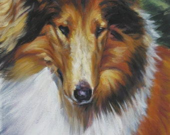 Rough Collie art print CANVAS print of LA Shepard painting 11x14