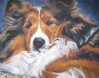Shetland Sheepdog sheltie art CANVAS print of LA Shepard painting 11x14 dog art