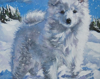 American Eskimo Dog art CANVAS print of LA Shepard painting 12x12