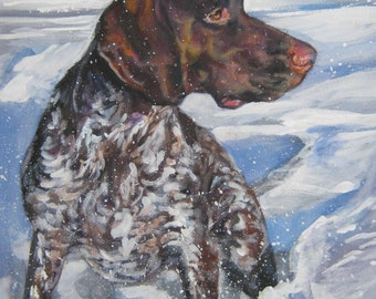 German Shorthaired Pointer gsp dog art CANVAS print of LA Shepard painting 8x10
