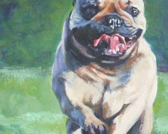 "FRENCH BULLDOG art portrait canvas PRINT of LAShepard painting frenchie dog 12x16"""
