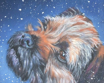 "Border Terrier DOG PORTRAIT art canvas PRINT of LAShepard painting 8x8"""