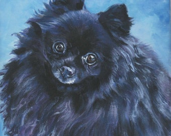 "black POMERANIAN dog portrait ART canvas PRINT of LAShepard painting 12x12"""