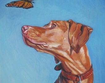 vizsla dog art CANVAS print of LA Shepard painting 8x10 portrait