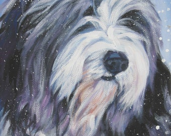 Bearded collie art CANVAS print of LA Shepard painting 8x10 beardie dog art