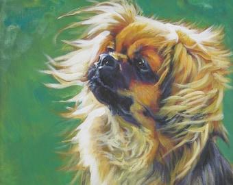 Tibetan Spaniel art CANVAS print of LA Shepard painting 12x16 dog portrait