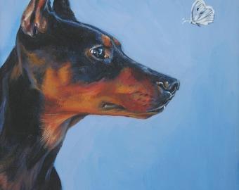 German Pinscher art CANVAS print of LA Shepard painting 8x8 dog portrait