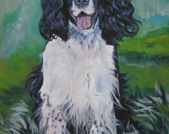 English Springer Spaniel dog art canvas print of LA Shepard painting 8x10