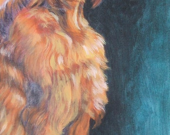 Irish Setter dog portrait CANVAS print of LA Shepard painting 9x18 dog art