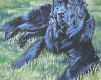 Newfoundland dog art CANVAS print of LA Shepard painting 8x8
