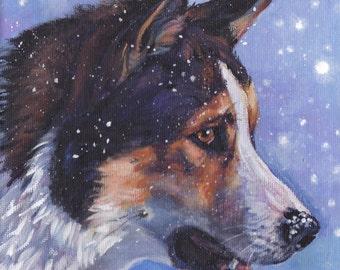 East Siberian Laika dog art CANVAS print of LA Shepard painting 8x8