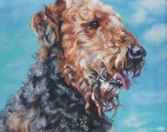 Airedale art print CANVAS print of LA Shepard painting 8x8 dog art