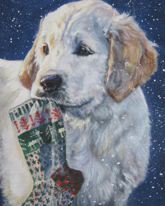 golden retriever art CANVAS print of LA Shepard painting 11x14 xmas dog art