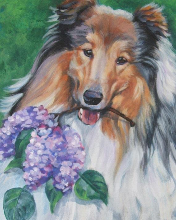 Rough Collie dog art CANVAS print of LA Shepard painting 8x10 dog portrait