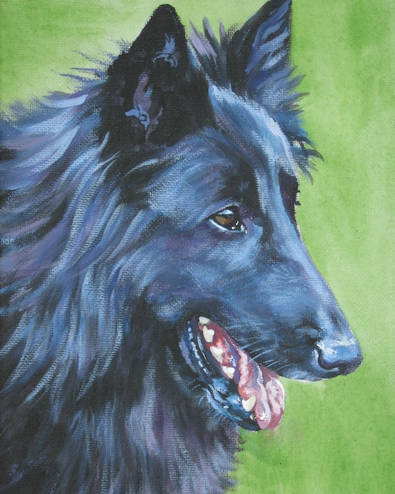 groenendael Belgian Sheepdog portrait CANVAS print of LA Shepard painting 8x10 dog art