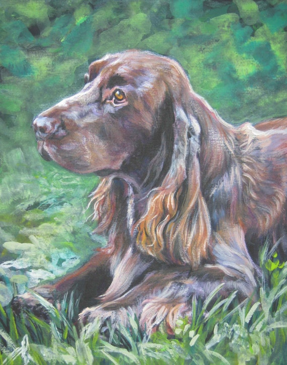 Field spaniel dog art portrait CANVAS print of LA Shepard painting 11x14