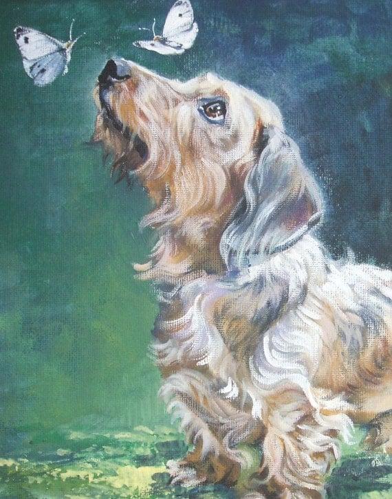 Dachshund dog art CANVAS print of LA Shepard painting 11x14