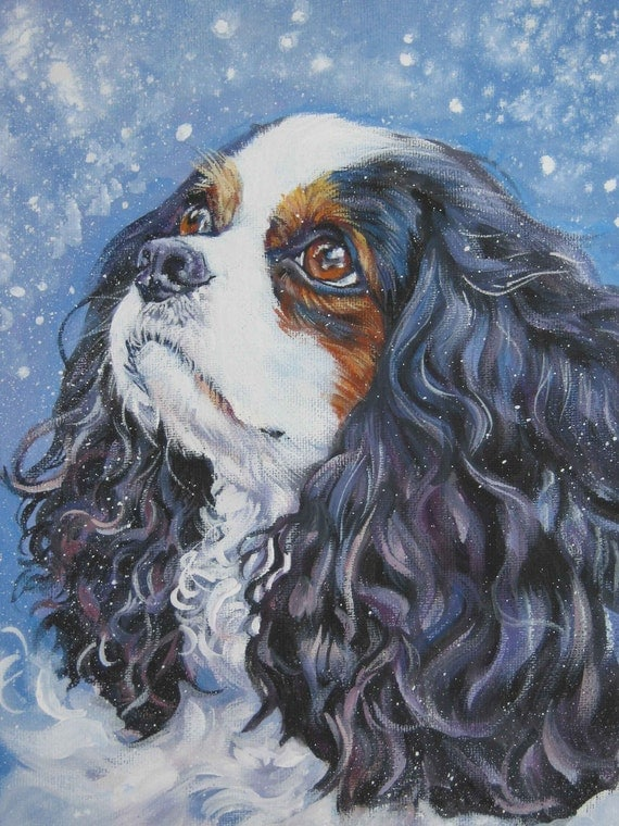 CAVALIER King Charles Spaniel DOG art CANVAS print of LAShepard painting 12x16
