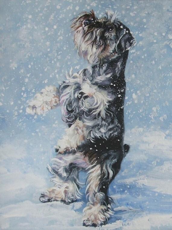 Miniature Schnauzer dog art  CANVAS print of LA Shepard painting 12x16