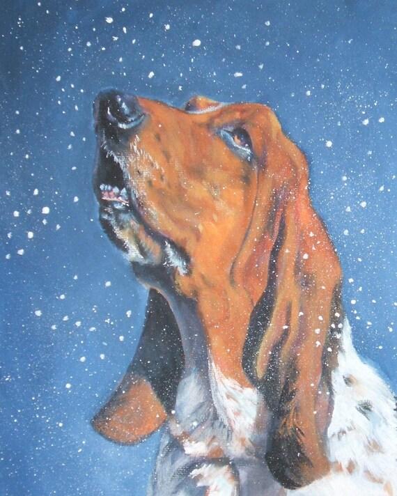 Basset Hound dog art portrait CANVAS print of LA Shepard painting 8x10