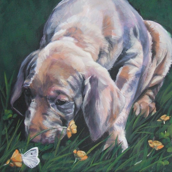 Weimaraner pup art portrait CANVAS print of LA Shepard painting 8x8 dog art