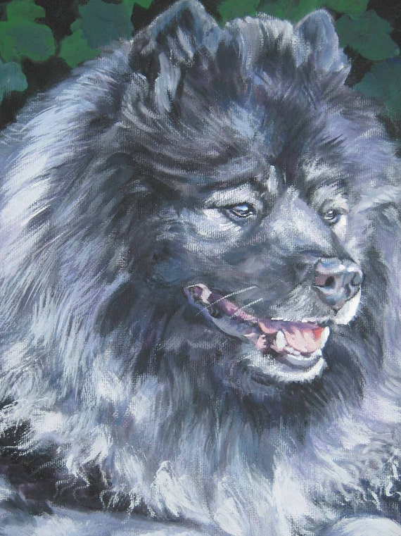 Keeshond dog portrait CANVAS print of LA Shepard painting 12x16 dog art