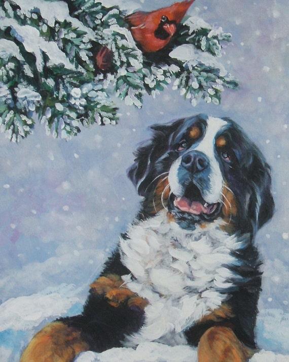 Bernese Mountain Dog art CANVAS print of LA Shepard painting 8x10