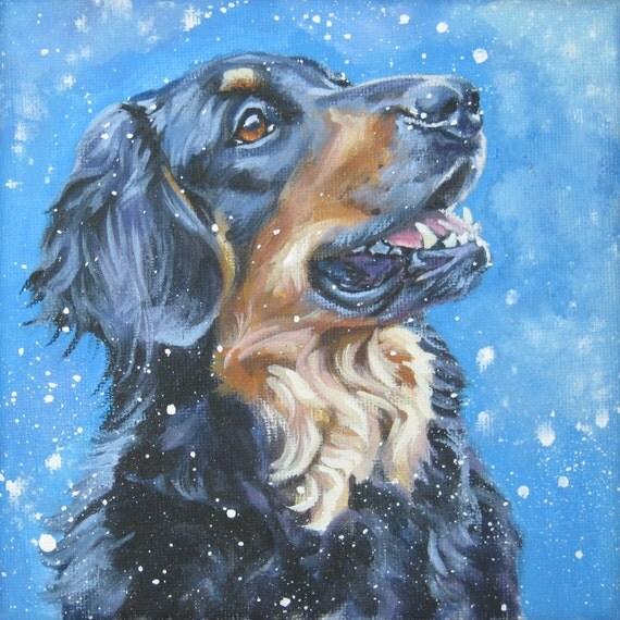Hovawart dog art portrait CANVAS print of LA Shepard painting 12x12