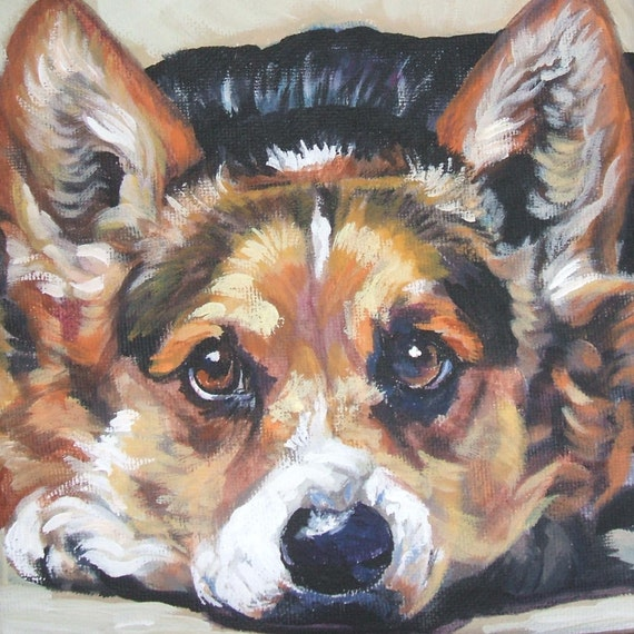 Pembroke Welsh Corgi Art Portrait Canvas Print Of La Shepard