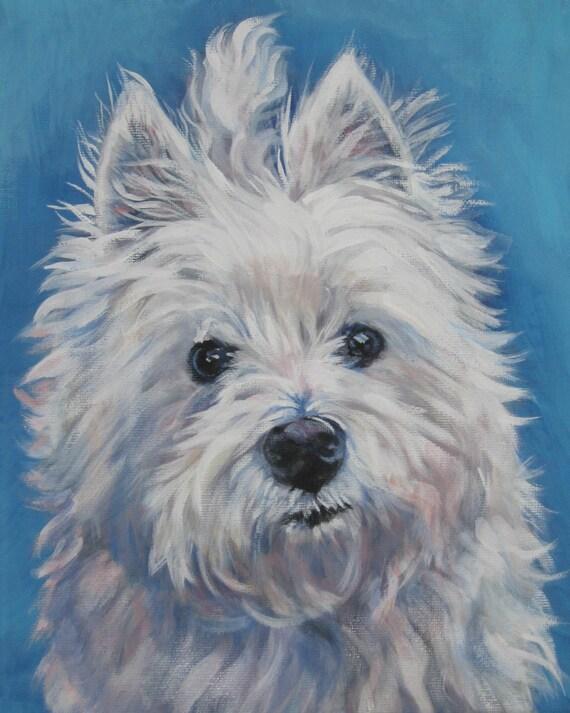 West Highland Terrier westie art CANVAS print of LA Shepard painting 8x10 dog portrait