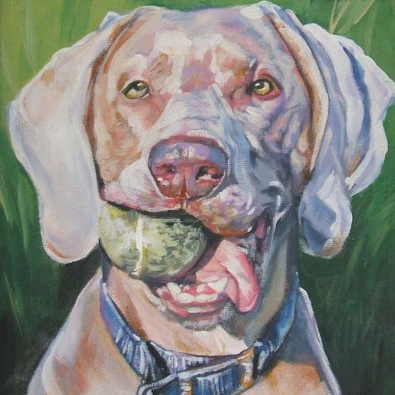 Weimaraner portrait CANVAS print of LA Shepard painting 8x8 dog art