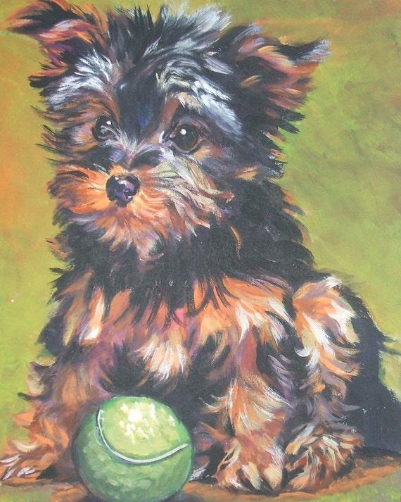 Yorkie Yorkshire Terrier art CANVAS print of LA Shepard painting 8x10 dog art