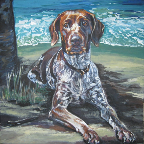 German Shorthaired pointer art CANVAS print of LA Shepard painting 12x12 dog art