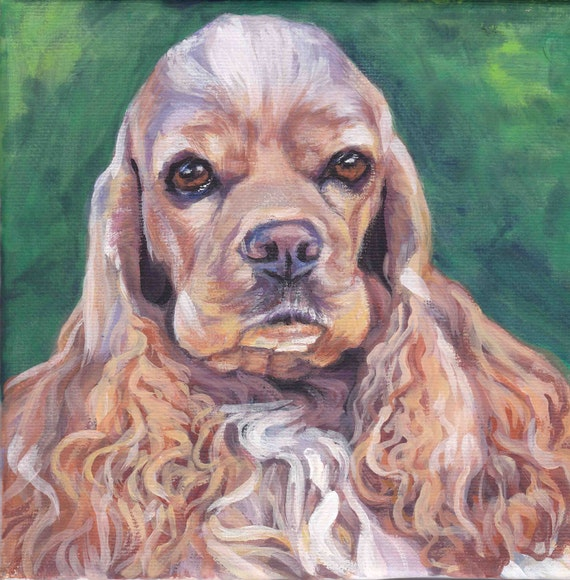 American cocker spaniel portrait canvas print of la shepard for Dog painting artist