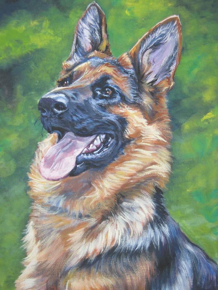 gsd German Shepherd dog art portrait CANVAS print by ...