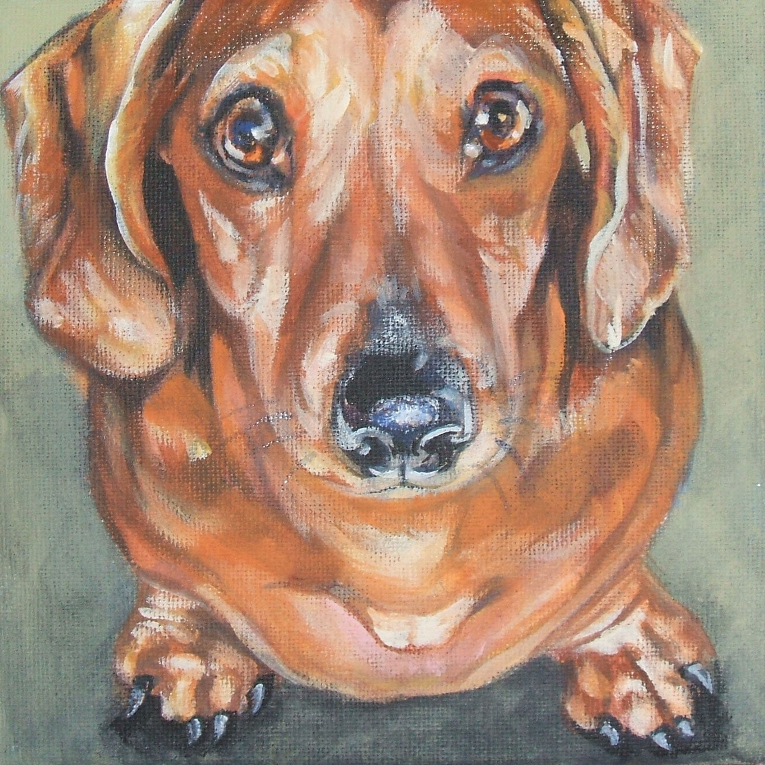 Dachshund dog art canvas print of la shepard painting 12x12 for Dog painting artist