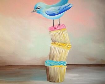 Cupcake and blue bird cute original painting PRINT