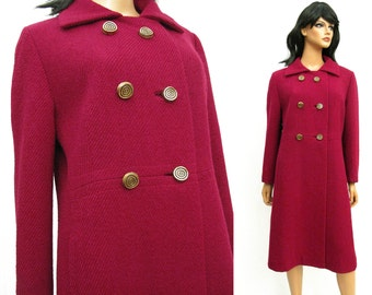 Dark Berry Pink Wool Coat - Vintage 60s Calf Length Double Breasted Winter Coat Size Medium M Boucle FREE US Shipping