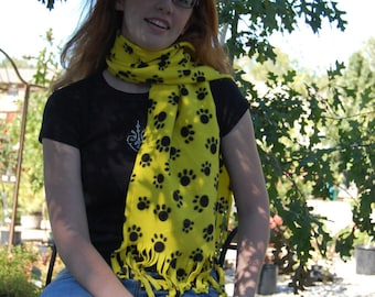 Yellow and Black Paw Print Fleece Scarf