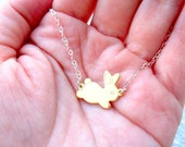 Rabbit Necklace Easter Bunny Necklace Sterling Silver