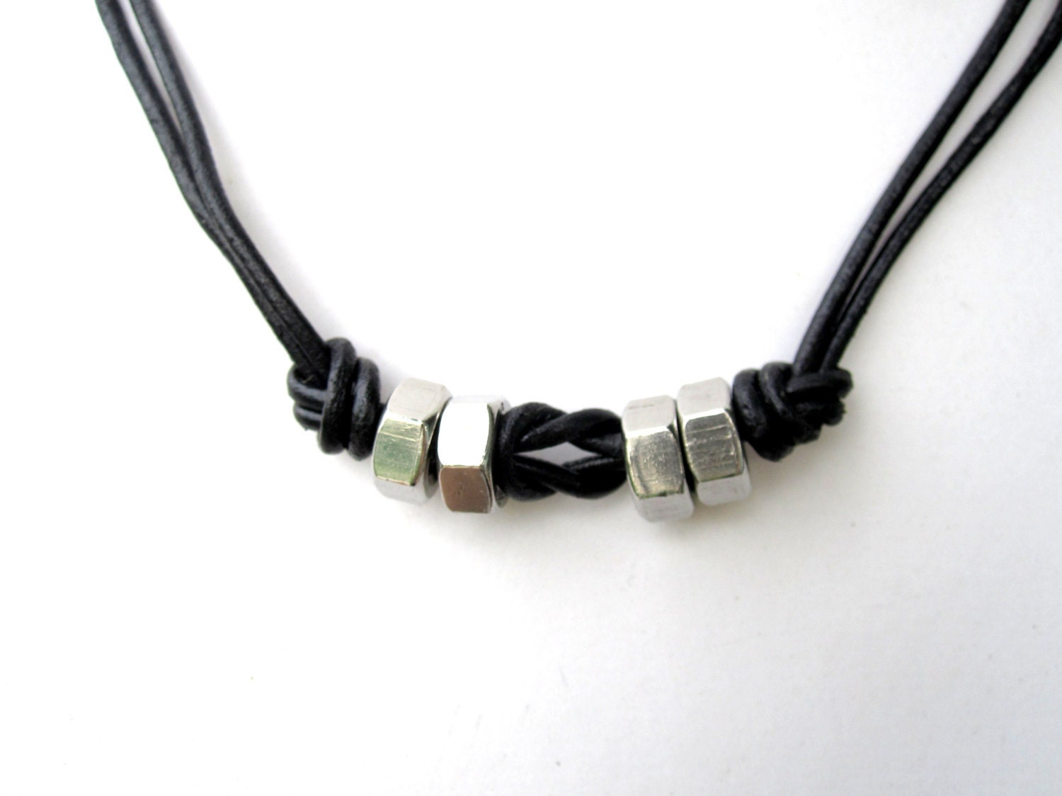 industrial mens necklace leather necklace w by pearlatplay