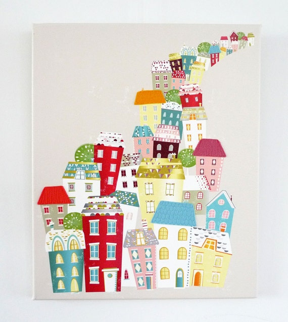 Framed Canvas Wall Art Print, City Living, Skyline, Cityscape, Textile Print, Modernist, Home interior decoration, nursery, baby, gift idea